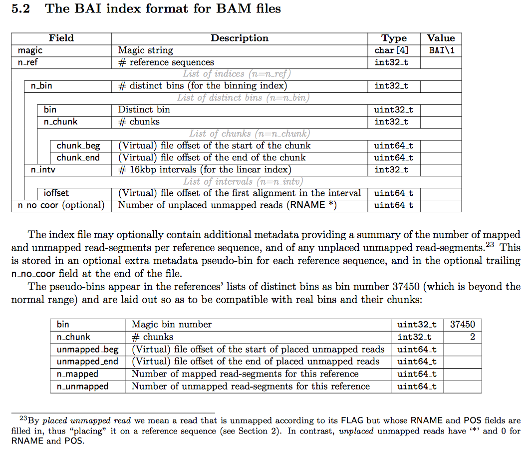 BAI binary file structure